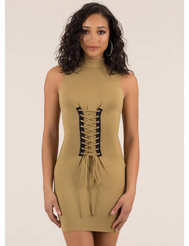 In Due Corset Lace Up Mockneck Dress by Go Jane