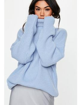 Premium Blue Roll Neck Boyfriend Jumper by Missguided