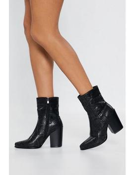 Mono Snake Block Heel Sock Boot by Nasty Gal