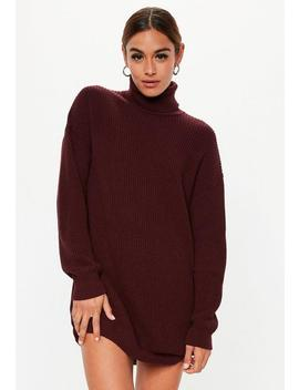 Burgundy Roll Neck Knitted Jumper Dress by Missguided