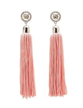 Crystal Tassel Drop Earrings by Charlotte Russe