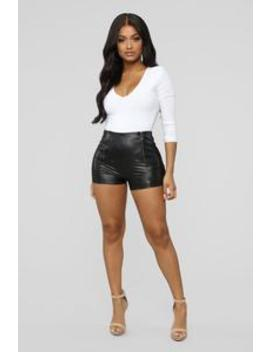Party Girl Pu Shorts   Black by Fashion Nova
