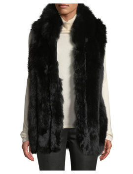 Long Sleeveless Fur Vest by Belle Fare