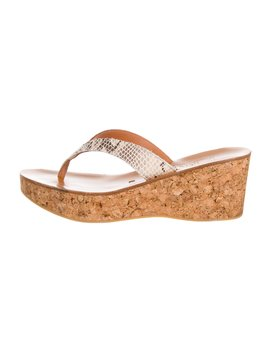 Embossed Wedge Thong Sandals by K Jacques St. Tropez