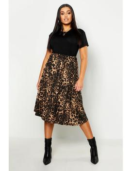 Plus Jersey Animal Print Midi Skater Skirt by Boohoo