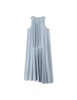 Edith Pleating Mini Sleeveless Dress by Tibi
