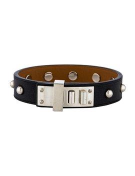 2016 Mini Dog Studded Round Leather Bracelet by Hermès