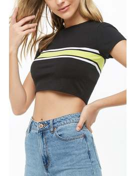 Striped Trim Crop Top by Forever 21