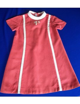 Vintage 1960's Little Girls Mod Dress Sz S Girls 3 4 5 A Line Initial Embroidered Front Dark Salmon Wool Style Marion Michael Original by Etsy