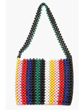 Rainbow Stripe Beaded Bag by Boohoo