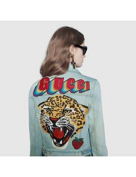 Denim Jacket With Patches by Gucci