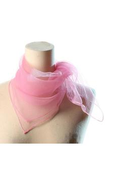 "Pink Nylon Kerchief 1960s Sheer Neck Scarf 60s Nylon Scarf Transparent Vintage Retro Scarf  29 "" X 29 "" Square by Etsy"