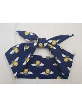 Navy Blue Bee Head Scarf   Hairband With Or Without Wire by Etsy