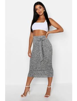 Knitted Rib Tie Waist Midaxi Skirt by Boohoo