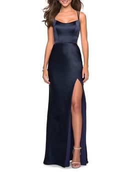 Strappy Back Fitted Satin Evening Dress by La Femme