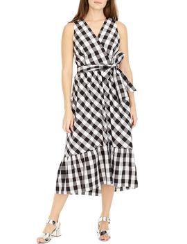 Faux Wrap Gingham Cotton Poplin Dress by J.Crew