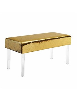 Tonya Mermaid Sequin Acrylic Leg Bench Gold/Silver   Linon by Linon
