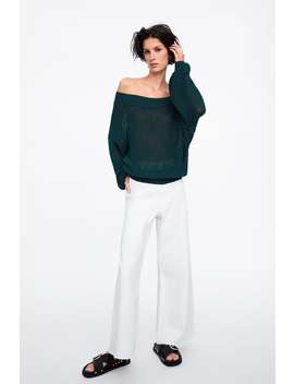 Wide Neck Cotton Sweater  View All Knitwear Woman by Zara