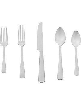 Amazon Basics 20 Piece Stainless Steel Flatware Set With Square Edge, Service For 4 by Amazon Basics