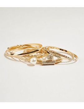 Gold Multi Pack Embellished Bangles by New Look