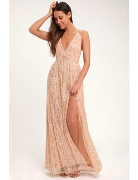 Jane Ann Blush Pink Sequin Maxi Dress by Lulus
