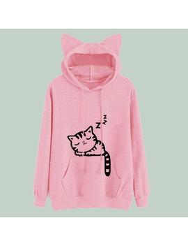 Pink Winter Cat Pattern Hooded Aesthetic Sweatshirts by Aestheti Cat