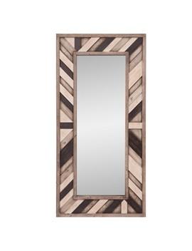 "19""X33"" Rustic Wood Plank Framed Wall Mirror Gray   Patton Wall Decor by Patton Wall Decor"