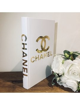 1  Designer Inspired Book White And Gold Chanel Book   Home Decor   Coffee Table Book by Etsy