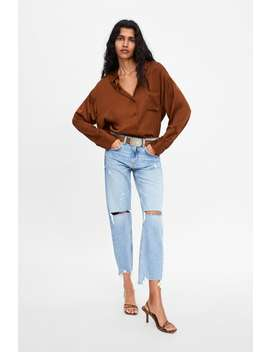 Zw Premium Slim Boyfriend Jeans In Beach Blue  New Inwoman by Zara