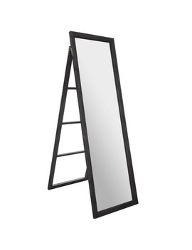 """22""""X70"""" Full Length Wood Ladder Standing Mirror With Easel Black   Gallery Solutions by Patton Wall Decor"""