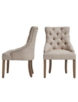 Tufted Beige Linen Wingback Dining Chairs Set Of 2 by Pier1 Imports