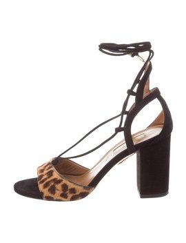 Ponyhair Lace Up Sandals by Aquazzura