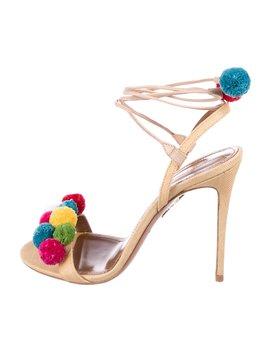 Pom Pom Straw Sandals by Aquazzura