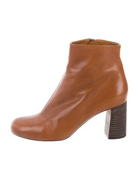 Leather Round Toe Ankle Boots by Chloé