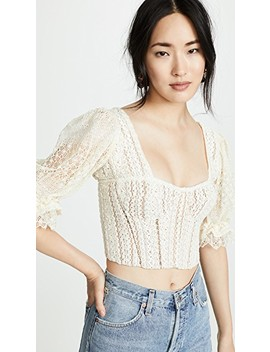 Mixed Knit Lace Puff Sleeve Bustier Top by Jonathan Simkhai