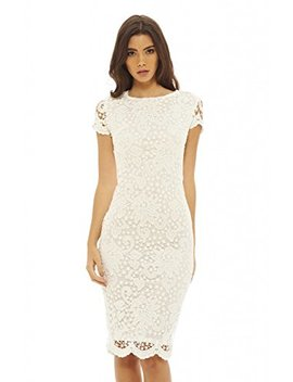 Ax Paris Women's Floral Detail Crochet Midi Dress by Ax Paris