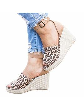 Enjoybuy Womens Summer Espadrille Wedge Sandals Peep Toe Suede Leather Ankle Strap Platform Shoes by Enjoybuy