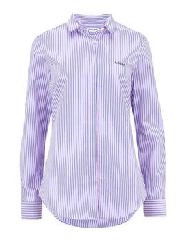 Holidays Claudine Shirt In Pink Stripe by Trilogy