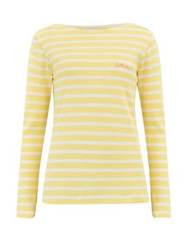 Amour Long Sleeve Sailor Stripe Tee In Yellow And White by Trilogy