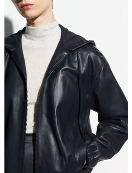 Washed Leather Zip Hoodie by Vince
