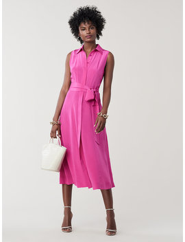 Demi Silk Collared Midi Dress by Dvf