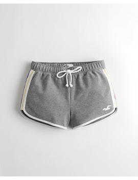 high-rise-curved-hem-fleece-shorts by hollister