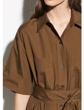Short Sleeve Utility Shirt Dress by Vince