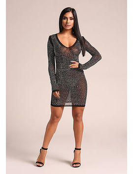 Black Rhinestone Mesh Bodycon Dress by Love Culture