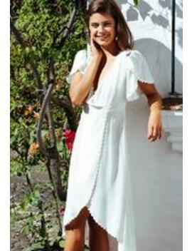 Open Field Surplice Maxi Dress In White by Wet Seal