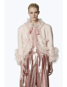 Cropped Feathered Tweed Jacket by Marc Jacobs