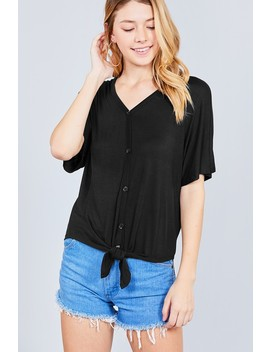 Short Dolman Sleeve V Neck W/Button Detail Front Tie Rayon Spandex Cardigan by 599 Fashion