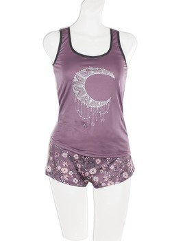 Knit Racerback Tank With Printed Shorts Set by 599 Fashion