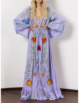 Purple Plunge Embroidery Detail Flare Sleeve Maxi Dress by Choies