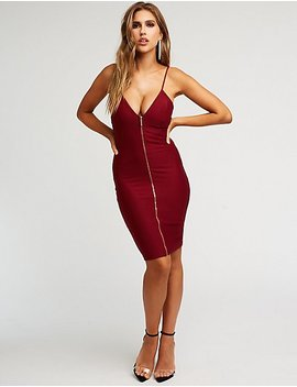 Zip Front Deep V Bodycon Dress by Charlotte Russe